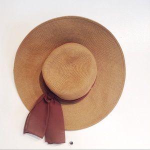 BIJOUX TERNER Brown Bow Sash Straw Vacation Hat
